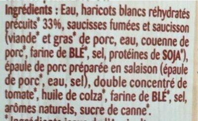 Cassoulet Bio - Ingrediënten - fr