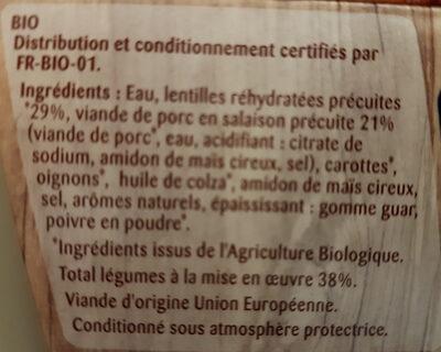 Porc aux lentilles bio - Ingrediënten - fr