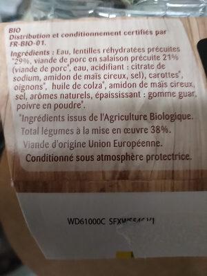 Porc aux lentilles bio - Ingrédients