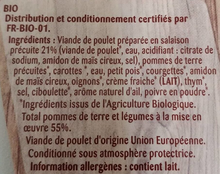Poulet & jardinière de légumes - Ingredients