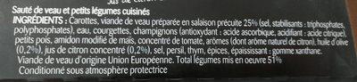 Sauté de veau et ses petits légumes - Ingredienti - fr