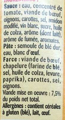 Ravioli (Pur Bœuf) - Ingrediënten