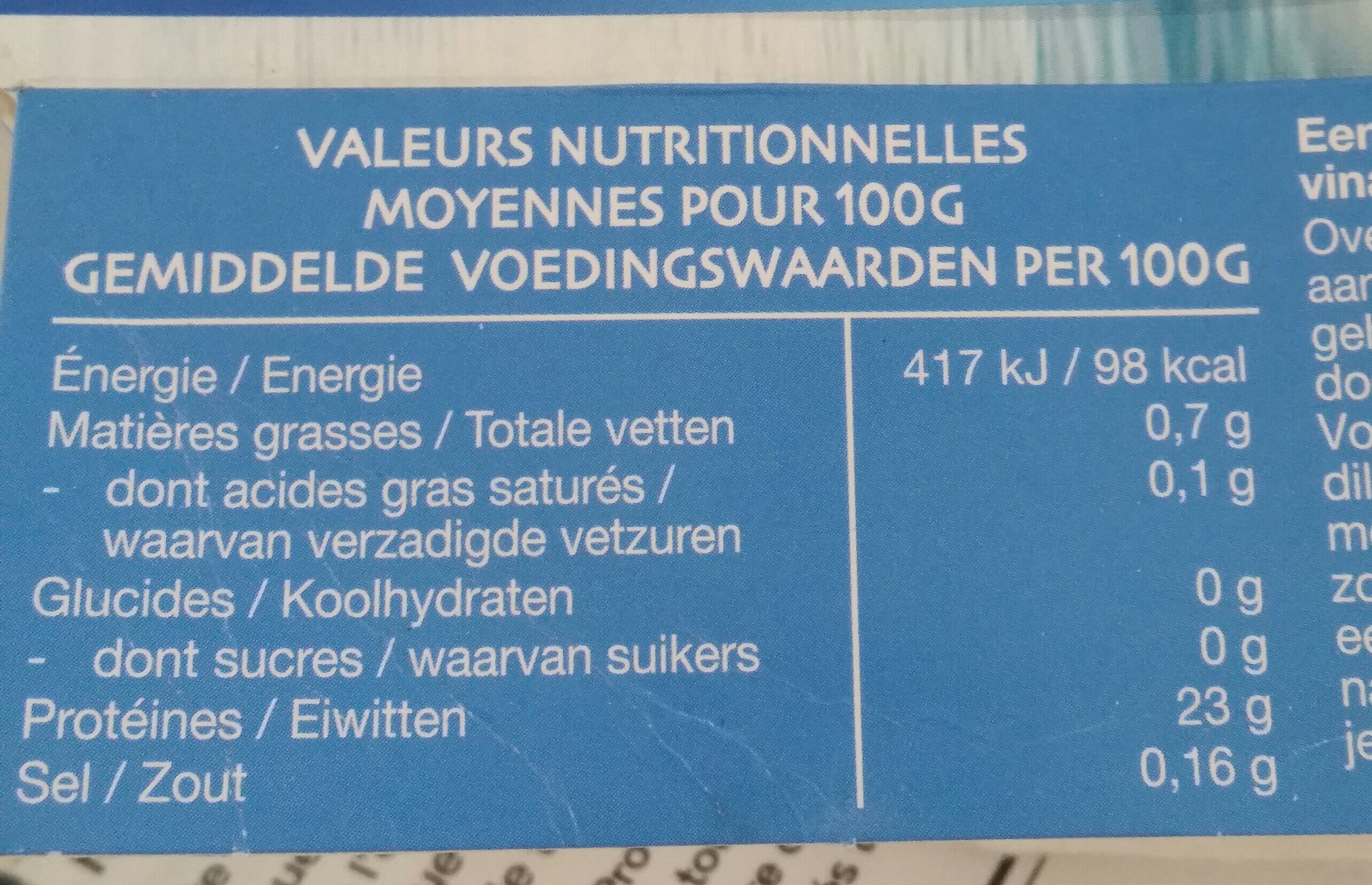 Eglefin sauvage - Nutrition facts