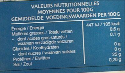 Thon germon pacifique sud - Informations nutritionnelles - fr