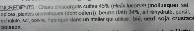 Escargots Préparés - Ingrédients - fr
