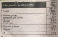 Escargots de bourgogne preparés - Nutrition facts - fr