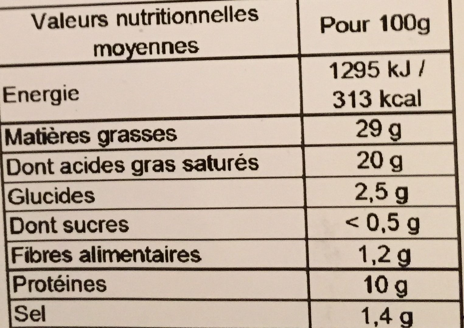 Escargots de bourgogne preparés - Nutrition facts