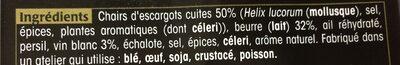 Escargot préparés - Ingredients