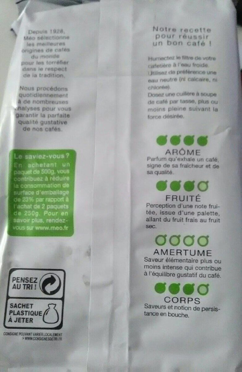 Pur Arabica Moulu biologique - Nutrition facts - fr