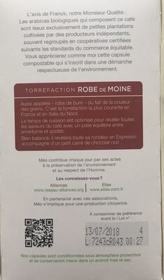 Cafe Meo Robe de Moine - Ingrediënten - fr