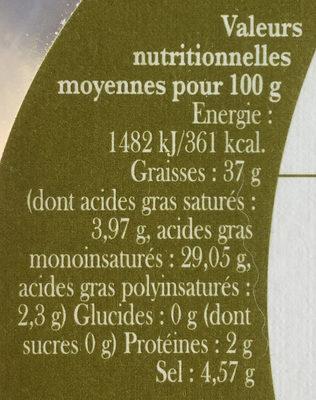 Olives noires de Nyons - Informations nutritionnelles - fr