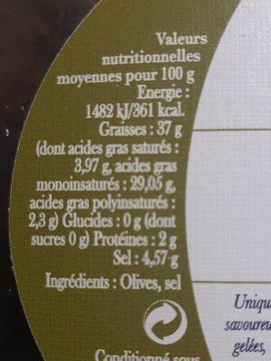Olives Noires de Nyons - Nutrition facts - fr