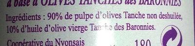 Pate d'olive - Ingredients