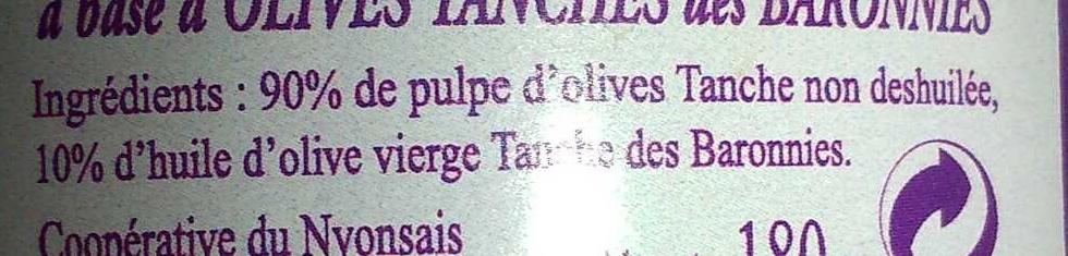 Pate d'olive - Ingrédients