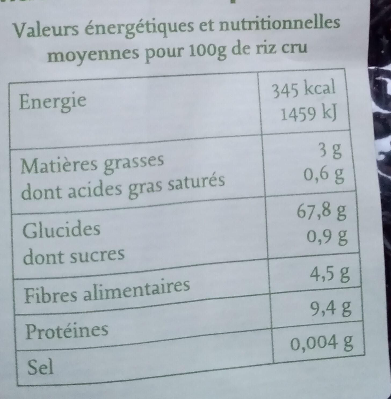 Riz de Camargue Long Noir Complet - Informations nutritionnelles - fr