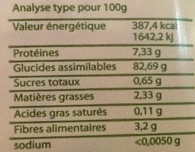 Galettes de riz de Camargue sans sel - Informations nutritionnelles - fr
