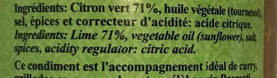 Condiment De Citron Vert - Ingrédients - fr