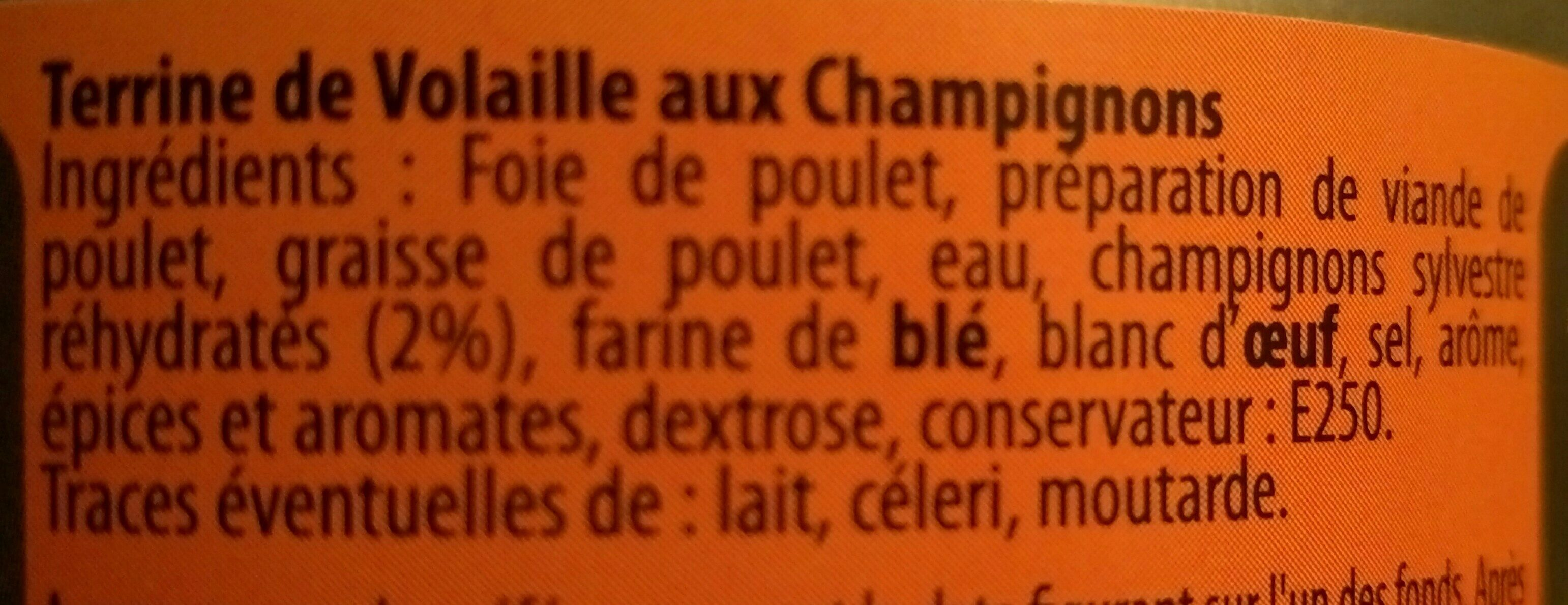Terrine de Volaille aux Champignons - Ingredients