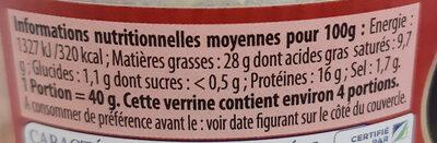 Pâté de Jambon Label Rouge - Informations nutritionnelles - fr