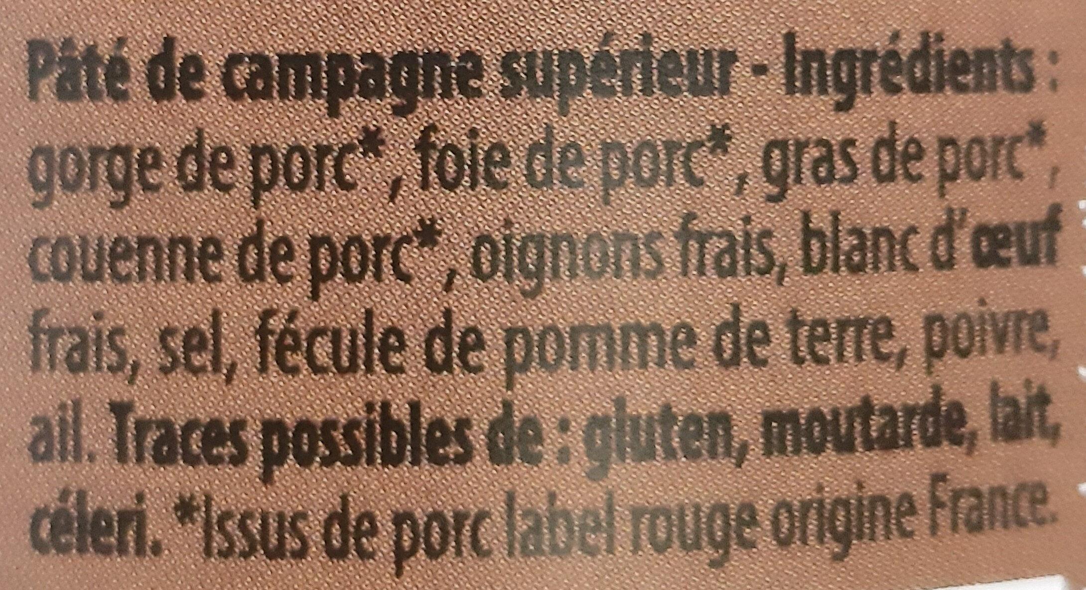 Pâté de Campagne Breton Label Rouge IGP - Ingrédients - fr