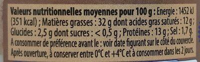 Pâté de Campagne Breton Label Rouge IGP - Informations nutritionnelles - fr