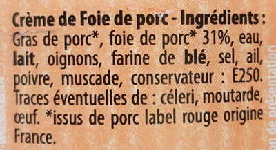 Crème de foie Label Rouge - Ingrediënten - fr