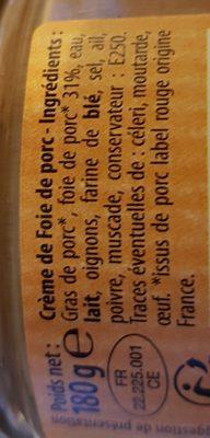 Crème de foie - Ingrediënten