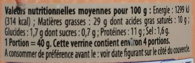 Crème de foie Label Rouge - Voedingswaarden - fr