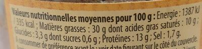 Pâté de Campagne au Cognac Label Rouge - Informations nutritionnelles - fr