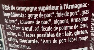 Pâté de Campagne à l'Armagnac Label Rouge - Ingrédients - fr