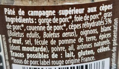 Pâté de Campagne aux Cèpes Label Rouge - Ingrédients - fr