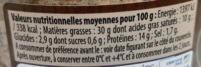 Pâté de Campagne aux Cèpes Label Rouge - Informations nutritionnelles - fr