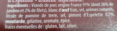 Pâté au jambon au piment d'Espelette - Inhaltsstoffe - fr