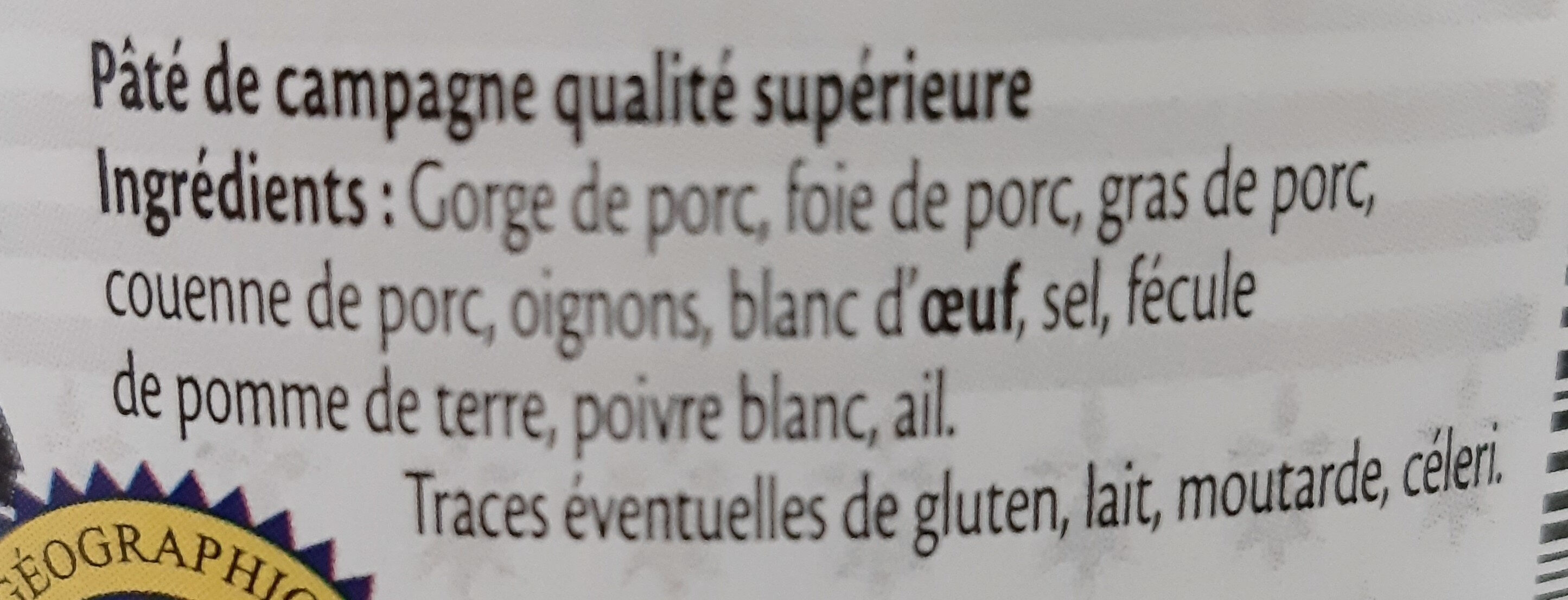 Terrine bretonne pur porc IGP - Ingrédients - fr