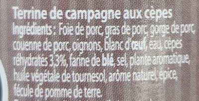 Terrine de Campagne aux Cèpes - Ingrédients - fr