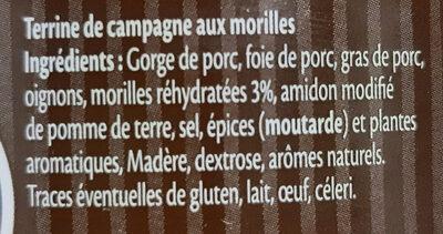 Terrine de Campagne aux Morilles - Ingrédients - fr