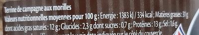 Terrine de Campagne aux Morilles - Informations nutritionnelles - fr