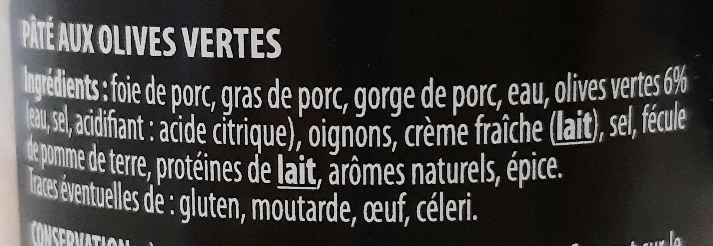 Pâté 'Apéro' olives vertes - Inhaltsstoffe