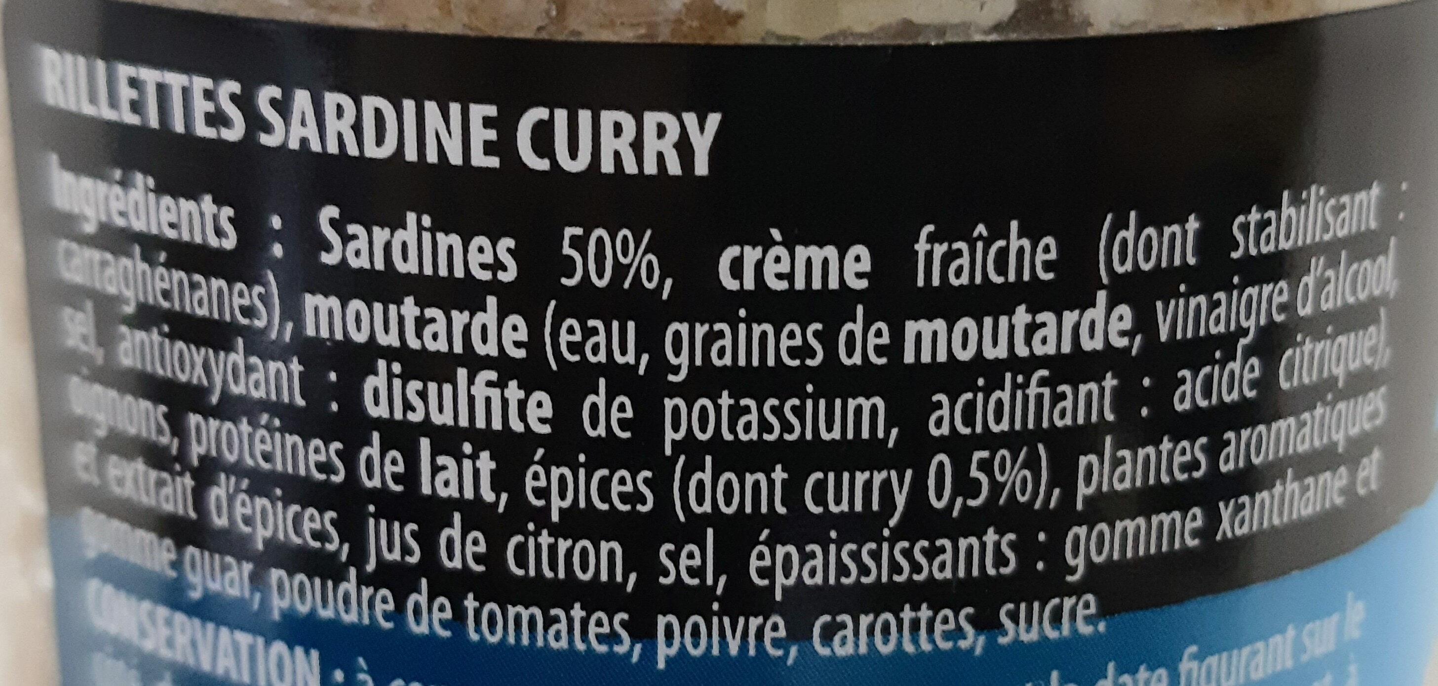Rillettes Apero Sardine Curry - Inhaltsstoffe - fr