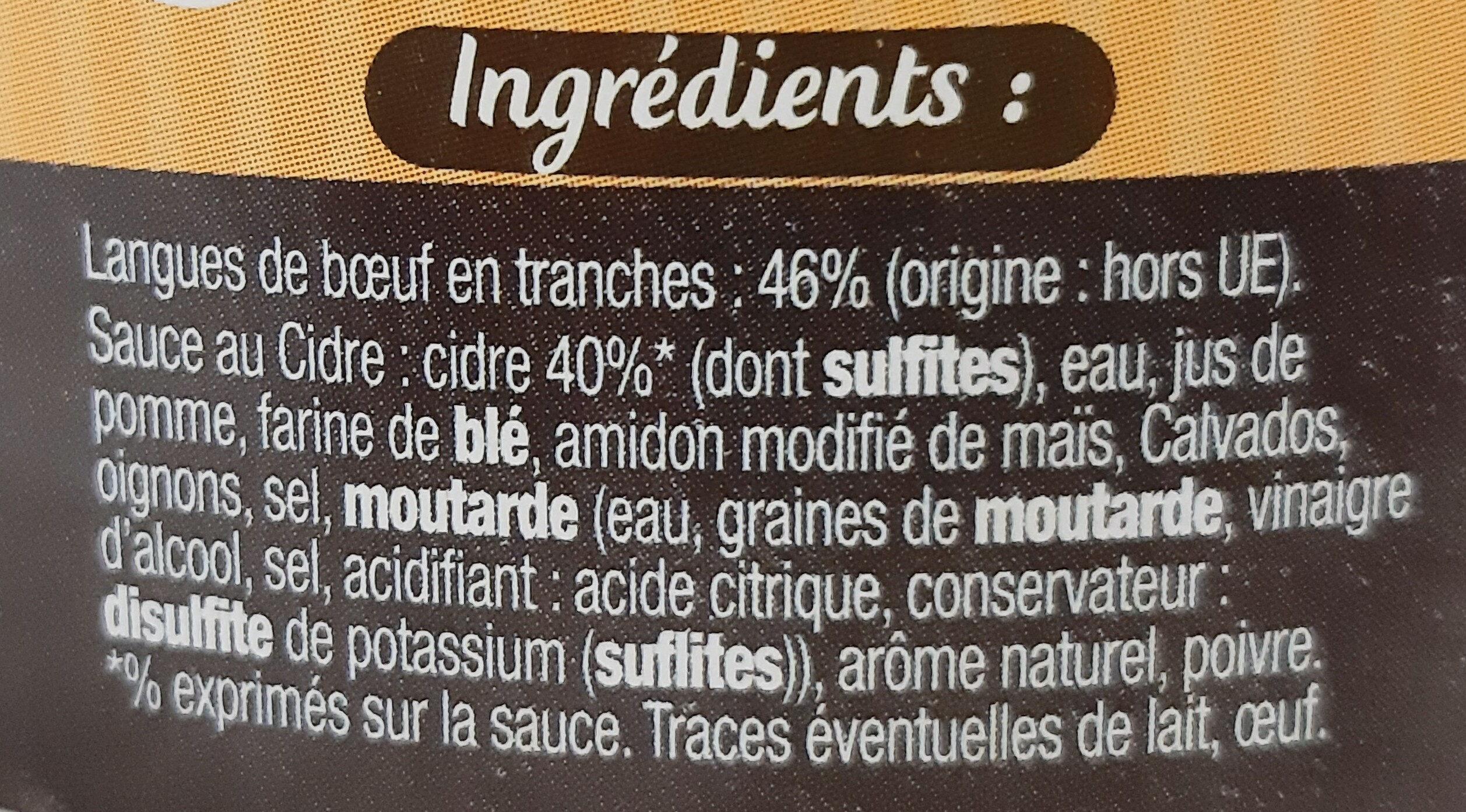 Langue de boeuf sauce au cidre - Ingrédients - fr