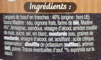Langue de bœuf sauce madère - Ingrédients - fr