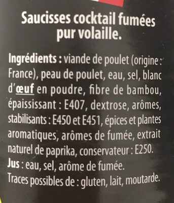 Saucisses Cocktail à la volaille - Ingrédients - fr