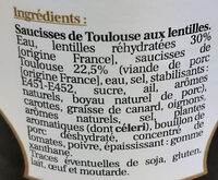 Saucisses de Toulouse aux lentilles - Inhaltsstoffe - fr