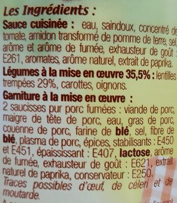 Saucisses aux Lentilles - Ingrédients - fr