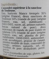 Cassoulet à la saucisse de Toulouse - Ingrediënten - fr