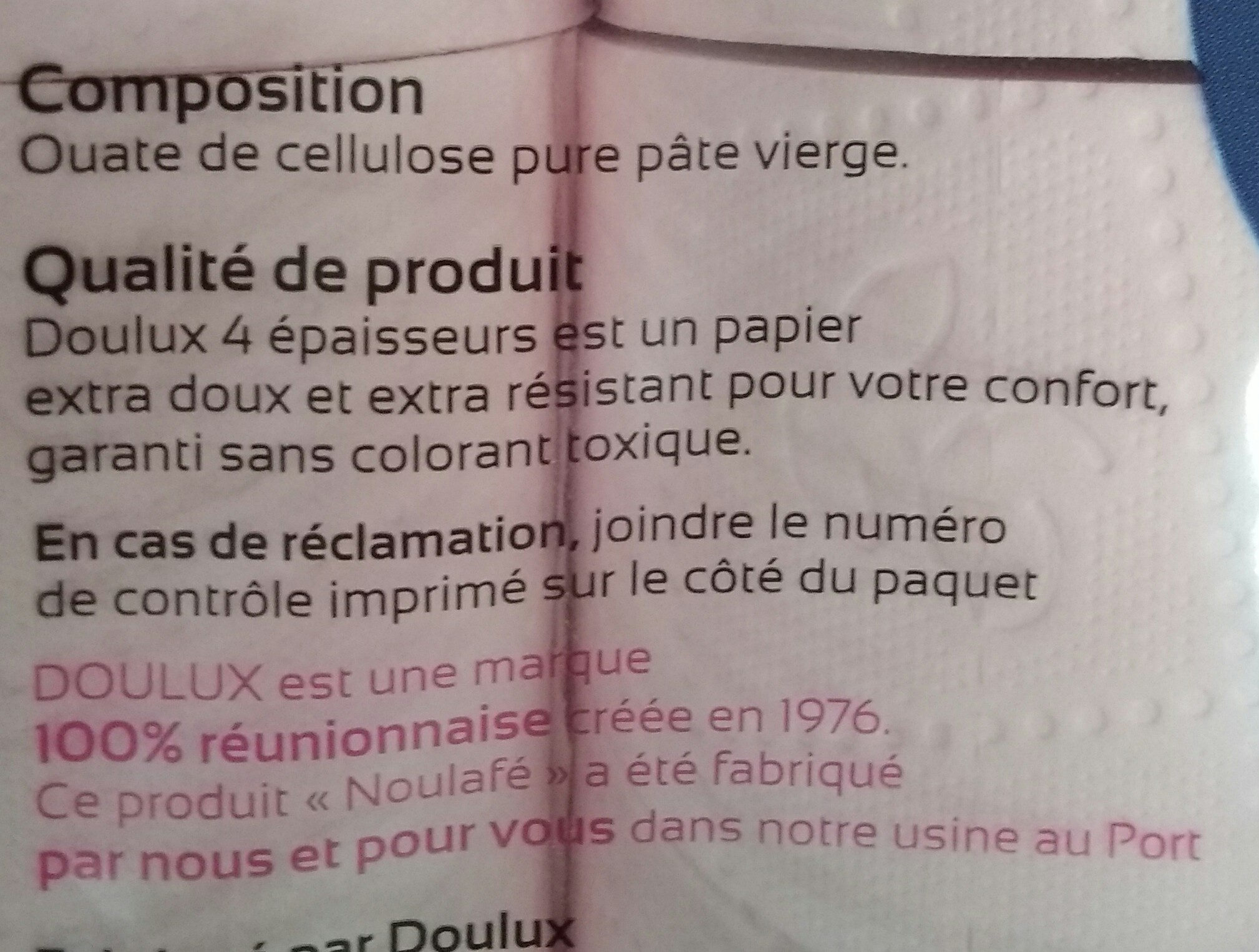 Doulux 4 épaisseurs ultra confort - Ingredients - fr