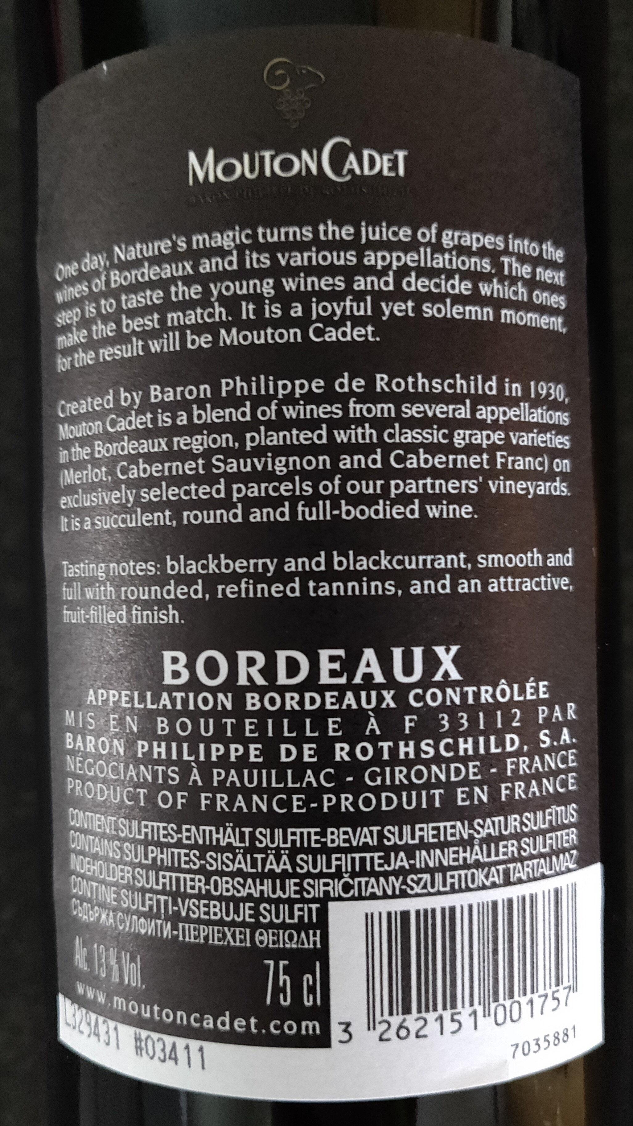 MOUTON CADET - Ingredients - fr