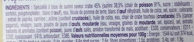 Tartinable de Surimi & crabe tourteau - Ingrédients
