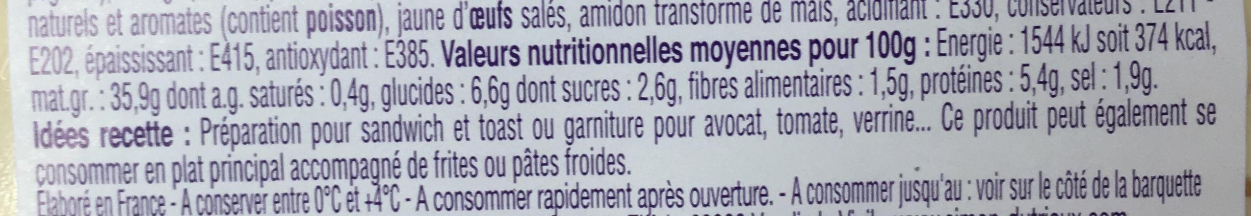 Tartinable de Surimi & crabe tourteau - Informations nutritionnelles
