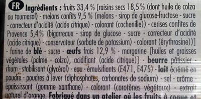 Et.4 Tranches Cake Fruits Pur Beurre 275G Forchy - Ingredients - fr